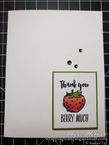 Adorable pun cards made with the Stampin Up Witty-cisms stamp set! Thank you berry much strawberry card
