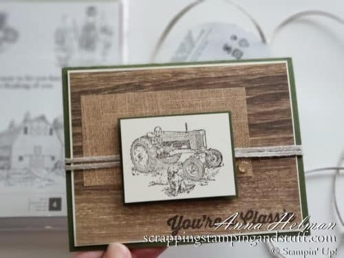 Masculine tractor birthday card idea using the Stampin Up Heartland and Geared Up Garage stamp sets, great for a man's birthday!