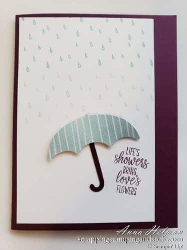 Cute 'life's showers' card made with the Stampin Up Under My Umbrella stamp and punch set. Thinking of you card idea.