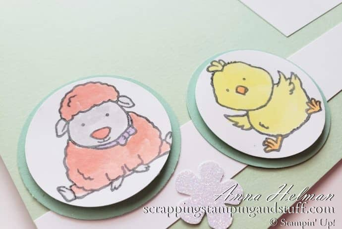 Adorable Baby Animals Stamp Set Scrapbook Page With Lamb, Chick, and Bunny Made With Stampin Up Welcome Easter Stamp Set