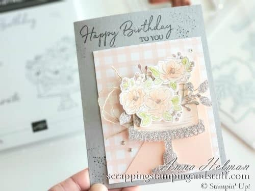 Birthday cake card idea made using the Stampin Up Happy Birthday to You stamp set, a free Sale-a-bration reward item and the dies are part of the Coordination Product Release!