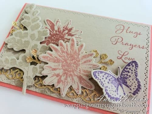Pretty floral thinking of you card with butterfly using the Stampin Up Positive Thoughts stamp set and Nature's Thoughts dies, part of the Coordination Product Release!