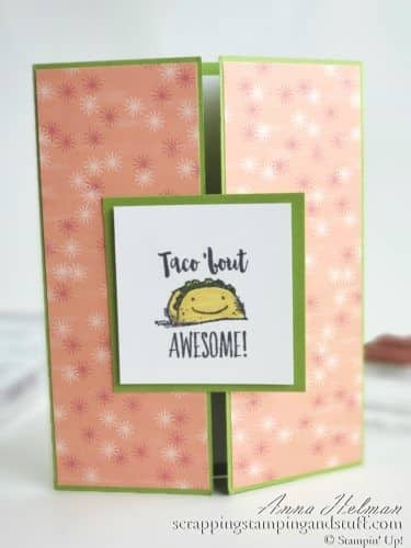 The new Stampin Up Witty-cisms stamp set is adorable! Full of cute sayings and puns, here is one sample card idea for kids, birthday, congrats, and more - Taco 'Bout Awesome!