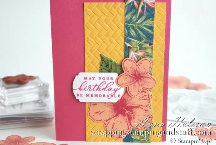 Pretty tropical card idea made with the Stampin Up Timeless Tropical stamp set in the 2020 January-June Mini Catalog. Pretty birthday card!