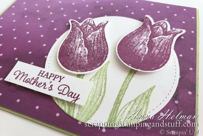Lovely Mother's Day card idea using the Stampin Up Timeless Tulips stamp set and Tulip Builder Punch - a favorite in the 2020 January-June Mini Catalog!