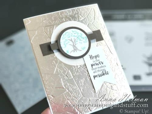 Win free stamping supplies during Giveaway Week! Enter to win the Power Of Hope stamp set and embossing folder bundle! Lovely tree card idea.
