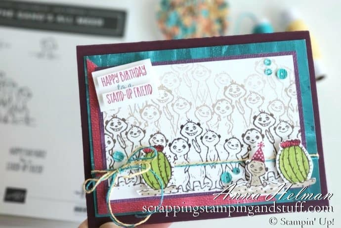 Win free stamping supplies during Giveaway Week! Enter to win the Stampin Up The Gang's All Meer stamp set! Adorable meerkat birthday card idea.