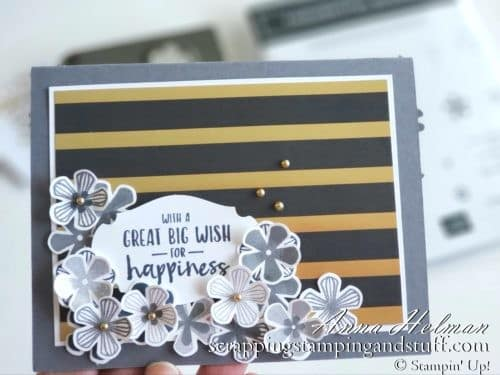 Win free stamping supplies during Giveaway Week! Enter to win the Stampin Up Thoughtful Blooms stamp set and small bloom punch! Nice gold and black floral birthday or wedding card idea!