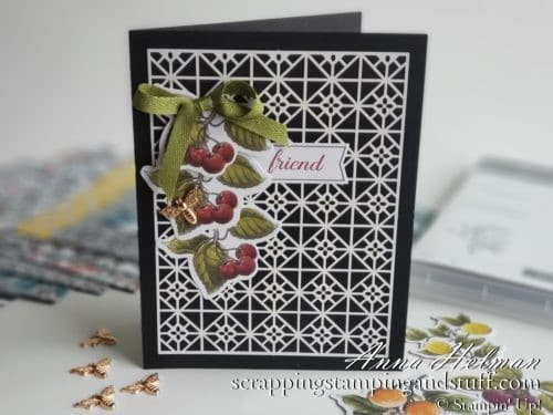 Such a pretty and simple card made with the Stampin Up Botanical Prints Product Medley. Cherry card idea with bee embellishments!