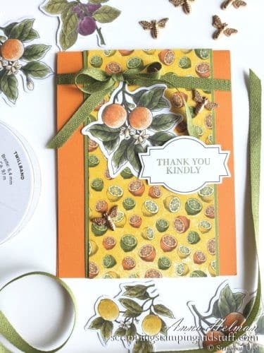 Cute orange card idea using the Stampin Up Botanical Prints product medley - oranges, lemons and limes on a pretty thank you card