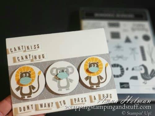Coronavirus Quarantine Card Idea Using Stampin Up Bonanza Buddies Stamp Set - Cute Animals With Face Masks