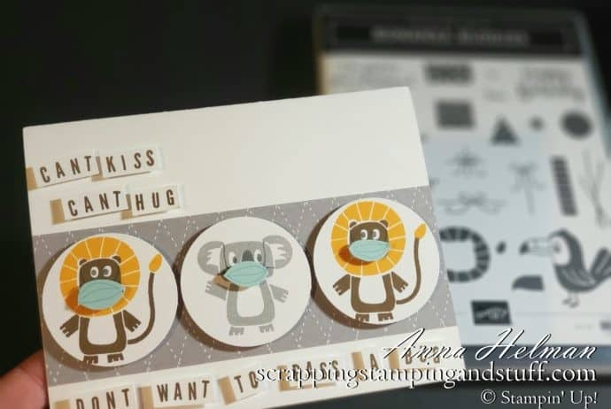 Coronavirus Quarantine Card Idea Using Stampin Up Bonanza Buddies Stamp Set - Cute Animals With Face Masks