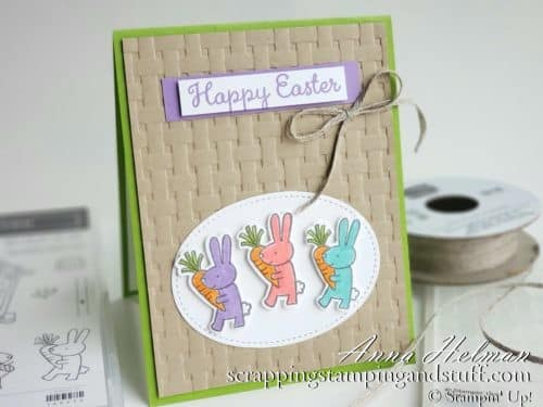 Cute Easter bunny card idea using the Stampin Up Cuckoo For You stamp set and basket weave embossing folder - perfect for Easter basket cards and projects!