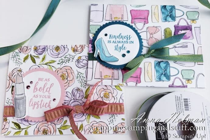 Cute high heel card idea and lipstick card idea using the Stampin Up Dressed To Impress stamp set