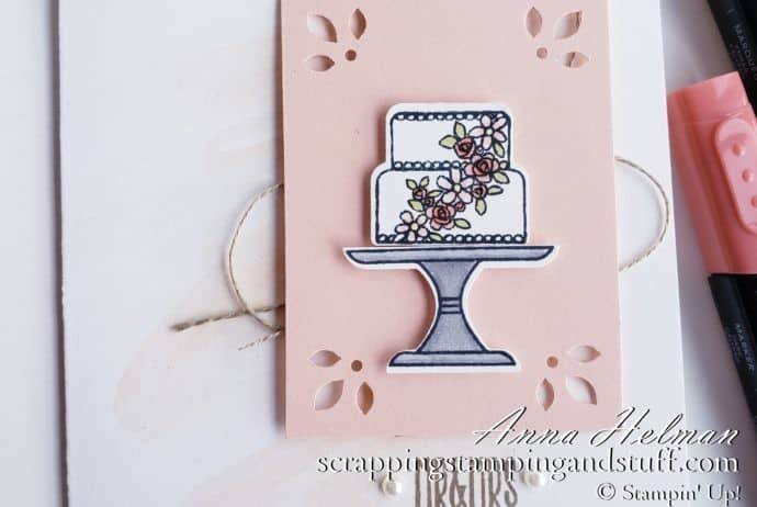Pretty wedding cake card using the Stampin Up Cake Builder Punch and Piece of Cake stamp set