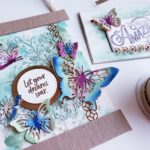 Beautiful handmade stamped wall art, wall hanging made using the Stampin Up Butterfly Beauty die set. Butterfly gift idea, handmade gift idea, watercoloring, technique
