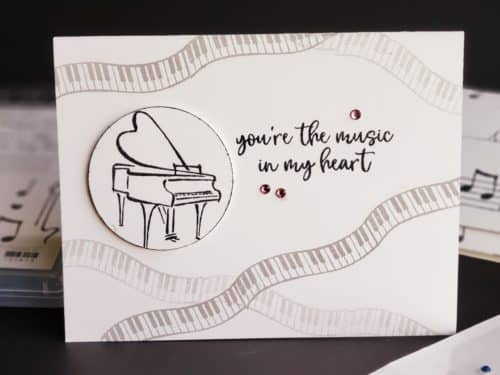 Clean and simple music card ideas using the Stampin' Up! Music From The Heart stamp set. Black and white cards with piano, guitar, and music notes.