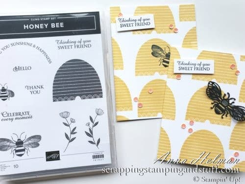 YouTube Card Tutorials - Stampin' Up Honey Bee Card Idea