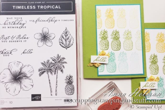 Ombre Stamping Pineapple Card With The Stampin' Up! Timeless Tropical Stamp Set