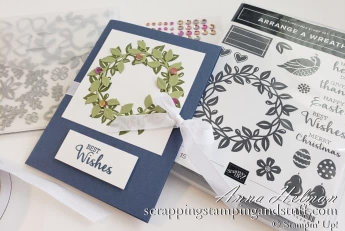 Double Pocket Envelope Card Tutorial Using Stampin Up Arrange A Wreath Bundle - Wedding Gift Card Holder