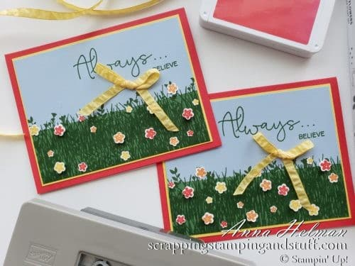 A Field of Wildflowers Card using the Stampin Up Field of Flowers stamp set and Confetti Flowers Border Punch