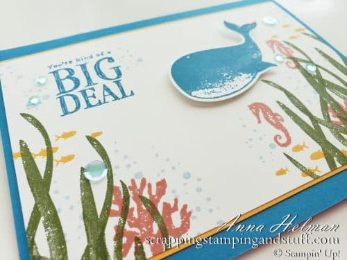 You're kind of a big deal whale card idea using the Stampin Up Whale Done stamp set and Whale Builder Punch. An underwater ocean scene with fish and seahorses.