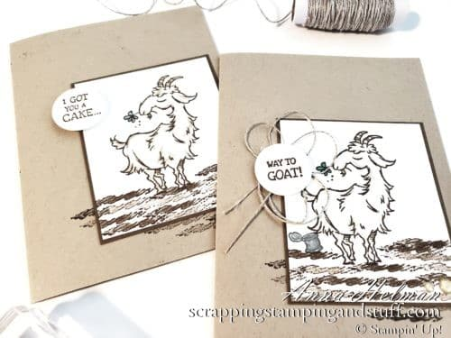 A funny goat birthday card using the Stampin Up Way To Goat stamp set. I got you a cake but I ate it!