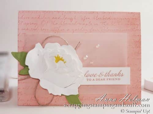 Learn this quick trick for how to make a beautiful, realistic Stampin Up Prized Peony flower with absolutely no sponging!