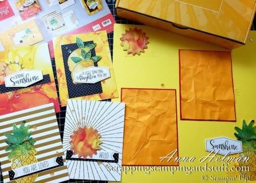 Stampin Up Paper Pumpkin June 2020 - Box of Sunshine card kit with alternative ideas