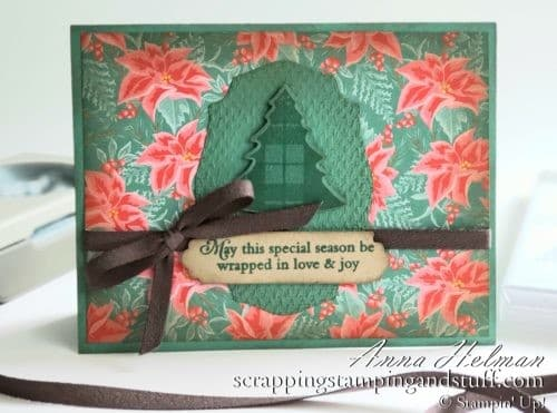 A Vintage Christmas Card Using The Stampin Up Tree Punch And Perfectly Plaid Stamp Set