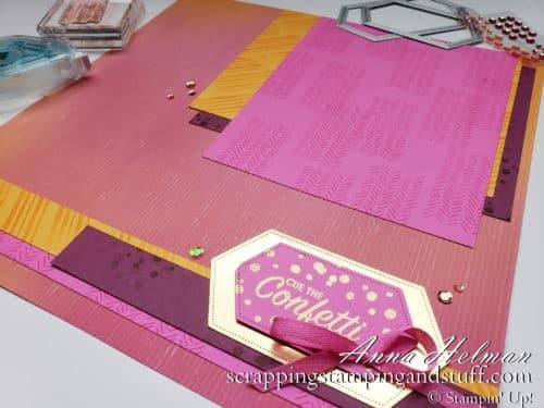 A Quick and Easy Scrapbook Page Idea Using The Stampin Up Pattern Play Stamp Set