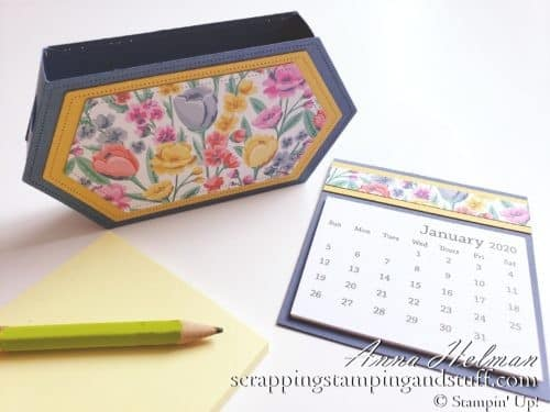 Learn how to make this adorable desk organizer and treat holder using the Stampin Up Stitched Nested Labels Dies. Use it to hold sticky notes, a mini calendar, and pencil.