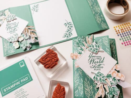 Double Gate Fold Card Tutorial Using The Stampin Up Forever Fern stamp set. A Simple Fun Fold And Fancy Fold Card Design!